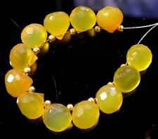 12 HONEY YELLOW CHALCEDONY FACETED ONION BRIOLETTE BEADS 7-7.5 mm  C21