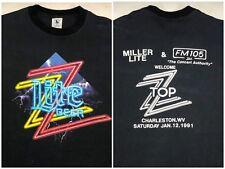 Vintage Mens Xl 1991 90s Zz Top Miller Lite Beer Black Music Concert T-Shirt
