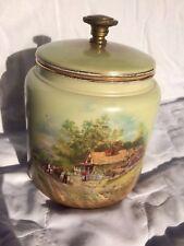 Rare 19th C Taylor & Tunnicliff porcelain tobacco jar humidor  idyllic scene