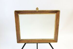 Antique French Mirror Gold Gilt Edge Wooden Frame 1800s Fleurette