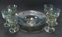 Vintage LOT of 1974 Signed Studio CHARLES LUTNER Blue Curtain Glass Bowl Goblets
