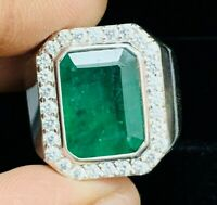 925 Sterling Silver 7.51 cts Natural Green Emerald Octagon Men Ring Size 6 to 15