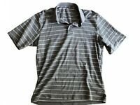 Eddie Bauer Men's Polo Strips Gray Medium