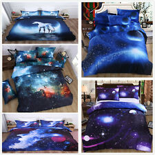 3D Galaxy Duvet Quilt Cover Universe Bedding Set Pillow Cases Single Double King