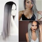 Fashion Cosplay Synthetic NATURAL Hair Full Wig Women Long Straight Ombre Curly