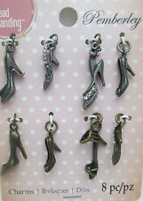 LOT 40x ANTIQUE SILVER TONE USN STYLE CHAIN ANCHOR BOTTLE INVITATION CHARMS