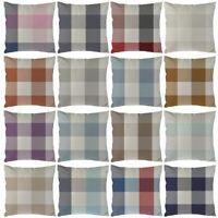 UK_ 1X Grid Pattern Linen Plaid Throw Pillow Cover Cushion Case Home Sofa Decor