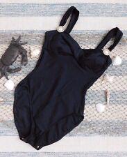 SS116 La Blanca Vtg Womans One Piece Bathing Suit Sz 12 Classic Black Swimsuit
