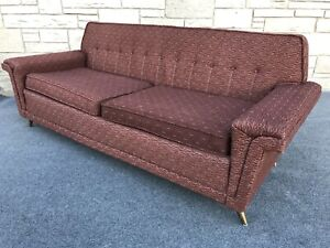 Mid Century Retro Modern 1950s Brooks Brown & Silver Sofa