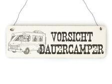 Shabby Vintage Schild Türschild VORSICHT DAUERCAMPER Holzschild Geschenk Camping