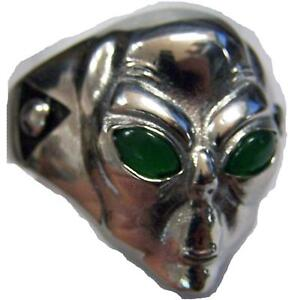 ALEIN HEAD SILVER STAINLESS STEEL MENS RING fashion jewelry weird aliens BRS504