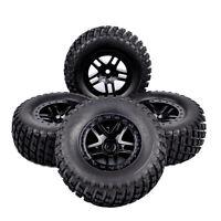 4PCS 1:10 Short Course Truck Tires&Wheel Rim 12mm Hex For TRAXXAS SlASH RC Car