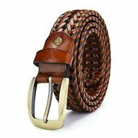 New Tan Leather Braided Men's Hand Woven Belt Gift Item