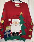 NWT Jeffrey Banks Designer Ugly Christmas Sweater S/M Santa Jingle Bells Red