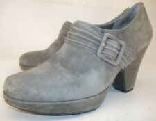 Me Too SUZZIE Wo's US 8.5M Gray Suede Slip-on Buckle Pumps Ankle Shoeties bootie