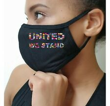 UNITED WE STAND Nations World Peace Flags Patriotic American Flag Face Mask USA