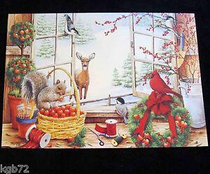 Leanin Tree Christmas Greeting Card Animals Birds Snow Multi Color C25