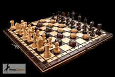 OUTLET Prime Chess Hand Crafted Cherry Wooden Chess and Draughts Set 35cm x 35cm