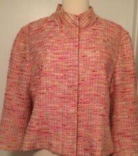 LILLY PULITZER Pink 3/4 Sleeves Tweed Jacket~Sz12~STUNNING!