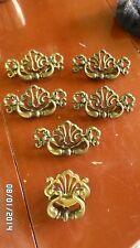 "231D Vtg Ornate Set 6 Solid Brass Drawer Handles 1 Small 2 3/4"" 5 Large 4 1/2"""