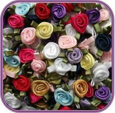 "100 Satin Ribbon Rose Flower 1/2"" Applique Sewing Bow Craft Mix Color 207A-3"