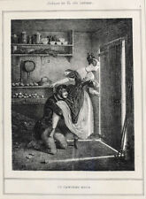 Paul Gavarni (French 1804 - 1866) Lithograph Le Cabinet Noir Erotica