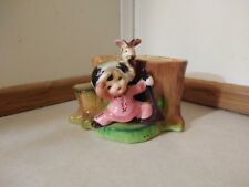 Vtg Geo Z Lefton Little Girl w/Bunny Planter