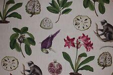 Sanderson curtain upholstery fabric design Capuchins 223274 monkey/bird 2 metres