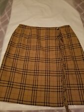 Wool Tan Plaid Skirt Sag Harbor Size 18