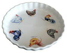 Chicken cockerel rooster hen Pattern 25cm Ceramic flan Quiche Dish