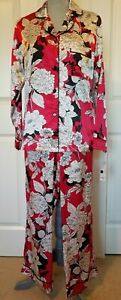 Apt 9 Women's Silky Satin Pajamas Set Red Black White Floral Small-Medium NWT$50