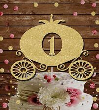 PRINCESS CARRIAGE GLITTER CAKE TOPPER FAIRYTALE BIRTHDAY PARTY 1st birthday
