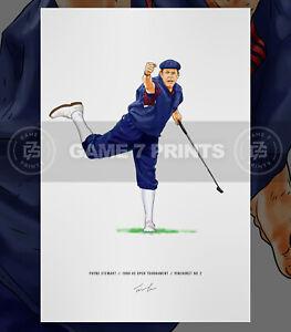 Payne Stewart 1999 US Open Illustrated Print Poster Golf Art