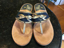 Jack Rogers Adeline Bow Womens Navy Blue & Gold Flip Flops Thongs Sandals Sz 9.5