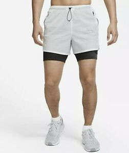 Nike Run Division 3-In-1 Running Shorts Platinum Gray Size Small CU5556-043