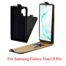 Full Black Vertical Flip Phone Case Cover Pouch for Samsung Galaxy Note 10 Pro