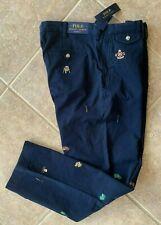 Polo Ralph Lauren Chino Pants Mens 36 x 32 Navy Bulldog Skull Pennant Print NWT