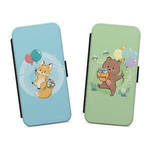 CUTE LITTLE FOX BEAR WITH BALLOON WALLET FLIP PHONE CASE COVER