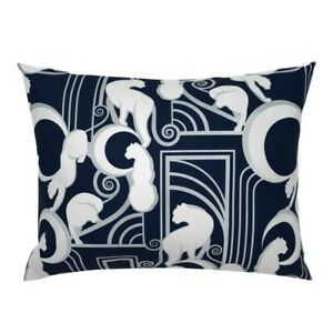 Art Nouveau Cats Navy Blue Silver Lined Panther Eclipse Pillow Sham by Roostery