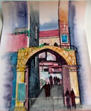 Israeli Art Judaica  The Road to the Kotel Original Watercolor L Lalum 27x19 1/2