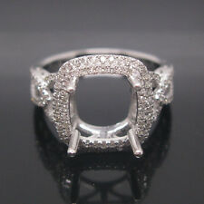 8.5x8.5mm Cushion Cut Solid 14k White Gold Natural Diamond Ring Semi Mount