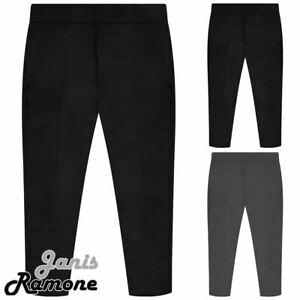 Boys School Trousers Half Elastic Waist Adjuster Pull Up Uniform Pants 3-13 Yrs
