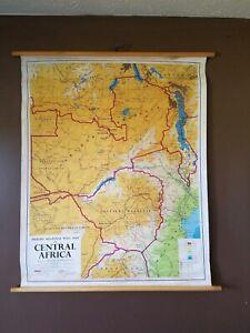 "Antique 1964 Philips' Regional Wall Map Africa Rhodesia Britain 46""x40 Huge"