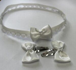 Baby Headband or Girls Hair clips Ivory satin Bows pearls Christening Wedding