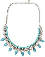 """Yochi Blue Crystal Silver Plated Woven Chain 16"""" Necklace"""