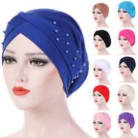 Eg _ Donna Perline Elastico Turbante Cappello Mussulmano Cancro Chemio Cappello