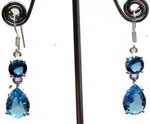 """925 Sterling Silver Swiss Blue Topaz Gemstone Handmade Jewelry Earrings Si-1.20"""""""
