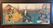 Konishi Hirosada Antique Japanese Woodblock Triptych Print Circa 1850s Kabuki
