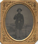 1/6 Plate Tintype of Armed Union Soldier in a Half Case for sale