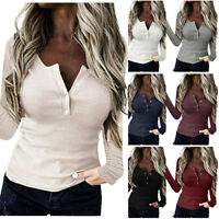 Womens Sexy V Neck Long Sleeve Casual Loose Blouse Solid T-Shirt Slim Tunic Tops